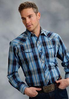 Western Shirts, Western Wear, Cowboy Outfits, Cowboys Shirt, Mens Attire, Blue Plaid, Well Dressed, Cowboy Boots, Handsome