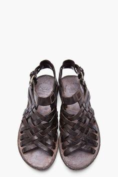 OFFICINE CREATIVE Dark Brown Leather Apuana 2.5 Sandals