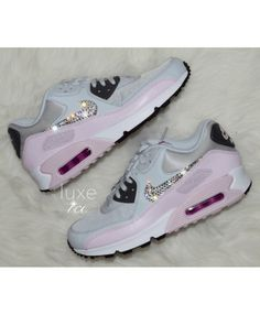 official photos a3c21 48b95 Nike Air Max 90 Pure Platinum Bleached Customized Trainers With Swarovski  UK Clearance