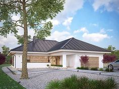 Projekt domu Ambrozja 8 House Plans Mansion, Dream House Plans, Interior Design Renderings, Interior Architecture, One Story Homes, Concept Home, Prefab Homes, Facade House, Home Pictures