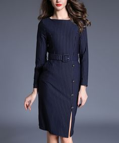 Look at this #zulilyfind! Coeur de Vague Navy Pinstripe Button Sheath Dress by Coeur de Vague #zulilyfinds