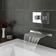 Plaza Wall Mounted Waterfall Bath Filler with Concealed Thermostatic Valve at Victorian Plumbing UK