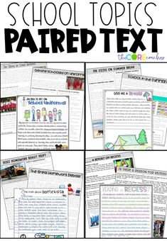 Using paired texts to improve student opinion writing. Topics they'll love to debate- Recess, Year-round school, Homework, and Uniforms