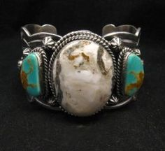 Navajo Old Pawn Style White Buffalo & Royston Turquoise Bracelet by Gilbert Tom Turquoise Cuff, Turquoise Stone, Turquoise Jewelry, Turquoise Bracelet, Silver Jewelry, Blue Topaz Necklace, American Indian Jewelry, Silver Work, Jewelry Companies