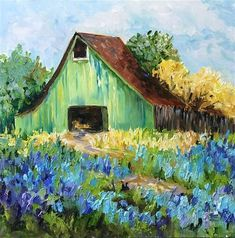 "Daily Paintworks – ""Old Green and Blue"" – Original Fine Art for Sale – © Jenny … - Canvas Painting Farm Paintings, Art Painting, Landscape Paintings, Fine Art, Impressionist Paintings, Art, Barn Art, Landscape Art, Barn Painting"