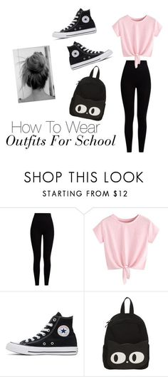 """""""How To Wear Outfits For School"""" by gussied-up on Polyvore featuring Pepper & Mayne and Converse"""