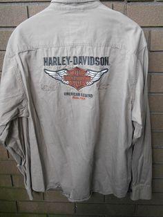 Harley-Davidson 3XL Shirt Beige Khaki Embroidered Long Sleeve American Legend #HarleyDavidson #ButtonFront