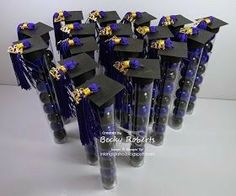Inking Idaho: Graduation Day These were the table favors - tubes of gum balls in his school colors. The tassels were full size and I cut them to be shorter. I ordered them from Oriental Trading and the tubes were purchased at our local party store. Graduation Desserts, College Graduation Parties, Graduation Balloons, Graduation Party Invitations, Graduation Party Decor, Graduation Cards, Grad Parties, Graduation Ideas, Graduation Centerpiece