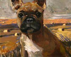 "Daily Paintworks - ""My territory! - french bulldog, a rural landscape"" - Original Fine Art for Sale - © adam deda"
