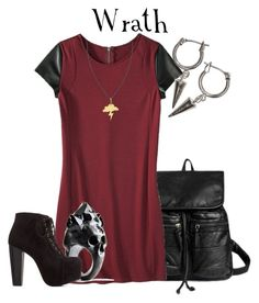 """""""Seven Deadly Sins: Wrath"""" by glitterbug152 ❤ liked on Polyvore featuring QeQ, 7 For All Mankind, Mossimo, Macabre Gadgets, Charlotte Russe, Twig, H&M, red, wrath and allegrabounds"""