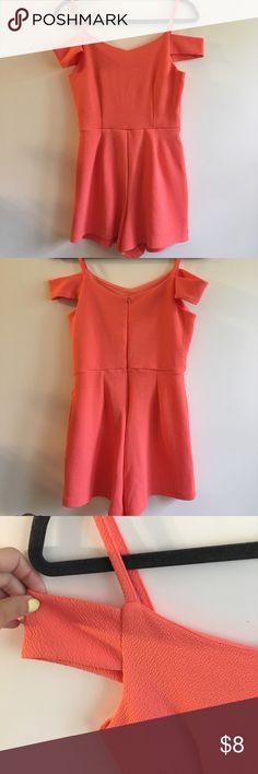 Coral Romper Super cute coral romper, off the shoulder with spaghetti straps. Zips up in the back. Like-new condition. Derek Heart Dresses Mini