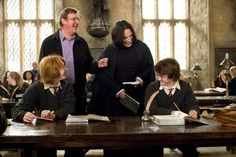 Director Mike Newell and stars Alan Rickman, Rupert Grint & Daniel Radcliffe on the set of Harry Potter and the Goblet of Fire.