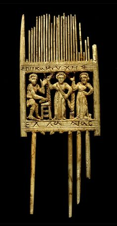 This is an elephant ivory comb found in Antinoe, Egypt which dates from the century C. At that time Egypt was under the Byzantine Empire. The comb is cm long and 17 cm high. Ancient Egyptian Art, Ancient History, Ancient Jewelry, Ancient Artifacts, African History, Ancient Civilizations, Roman Empire, Archaeology, Louvre