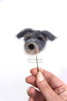 HeartFelties: All in the face - Irish Wolfhound needle felted dog head