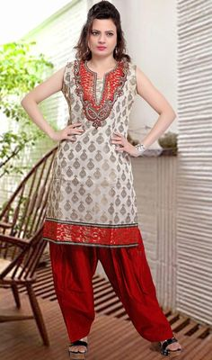 True splendor can come out of your dressing trend with this red and off white shade net salwar kameez. The lace, patch, resham and stones work seems to be chic and excellent for any celebration. #PleasingCasualWearDress