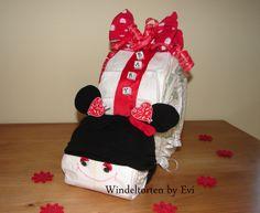 Windelschnecke 'Minnie Mouse',  süsse Windeltorte von Windeltorten By Evi auf DaWanda.com