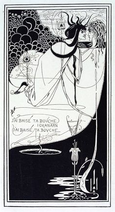 Design for The Climax from Oscar Wilde's Salome; J'ai baisé ta bouche Iokanaan   Beardsley, Aubrey Vincent