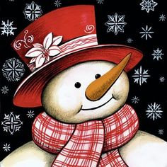 Snowman Dressed for Winter, Christmas. Snowman Dressed for Winter Christmas. by OurCraftAddictions Christmas Canvas, Christmas Paintings, Christmas Snowman, Christmas Projects, Winter Christmas, Holiday Crafts, Vintage Christmas, Christmas Ornaments, Christmas Rock