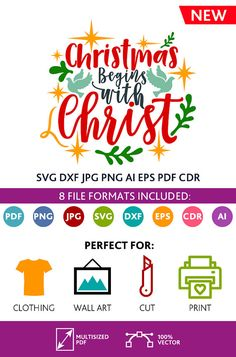 Christmas Begins with Christ SVG Cut Files Wall Art Quote Printable Art Decor room Art Poster digital Svg Dxf Cdr Eps Ai Jpg Pdf Png