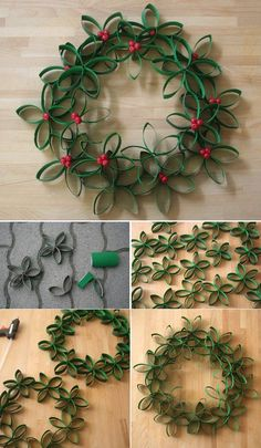 Toilet roll inspired Christmas wreath. If you don't want to spend so much when you're on your Christmas budget you can always use the things that are in your home like toilet paper rolls. This is economic and you can save more to buy presents for your love ones.