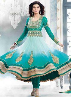 Trendy Shaded Sea Green #Net #Anarkali #Suit