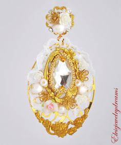 Floral White D&G Baroque Wedding Earrings by Elviejewelrydreams