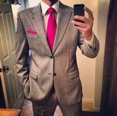 Fushia Tie Grey And Pinstripes