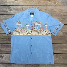 e0398a77 Ukuleles and Hula Girl Lamps Hawaiian Shirt- Men's Large- Vintage Tiki Shirt-  Tiki Lamp- Rockabilly Shirt- Made in Hawaii, USA- Luau Party