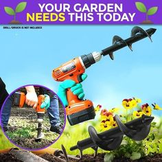 The Garden Spiral Hole Drill Planter is a handy gardening tool that's ideal for planting bulbs, bedding plants and seedlings. This garden auger spiral drill bi Planting Grass, Planting Bulbs, Garden Projects, Garden Tools, Garden Rake, Digging Tools, Homemade Tools, Bulb Flowers, Garage Workshop