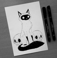 Ink Drawing People actually pay me to draw them their cats, when the reality is I would've done it for free. Especially when they have such gorgeous… - Cat Drawing, Drawing People, Ink Drawings, Animal Drawings, Art And Illustration, Desenhos Halloween, Arte Sketchbook, Realism Art, Cat Art