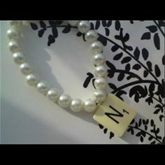 Pearl Bracelet, Pearl Necklace, Made In Uk, Jewelry Making, Pearls, Scrabble, Bracelets, Tile, How To Make