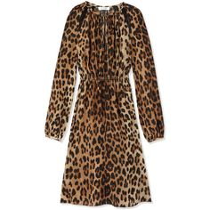 Altuzarra Sasa Tie Leopard Dress ($1,495) ❤ liked on Polyvore