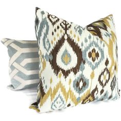 Brown, Gold and Blue Ikat Decorative Pillow Cover, Accent Pillow, Throw Pillows, Pillow sham