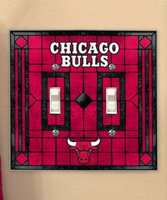 This Chicago Bulls Art Glass Double Switch Cover is perfect! #zulilyfinds