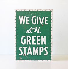 Vintage Sign, S and H Green Stamps, Enamel S&H Advertising Sign by bellalulu on Etsy https://www.etsy.com/listing/238684326/vintage-sign-s-and-h-green-stamps-enamel