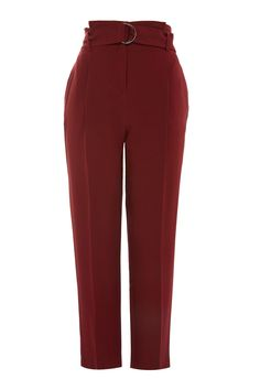 Add a dash of colour to your trouser options with these berry red peg trousers. The design features a paperwaist detail, belt and cropped length. Team with a button up satin blouse for a chic look. Peg Trousers, Tapered Trousers, Dress Trousers, Women's Pants, Slacks For Women, Clothes For Women, Fashion Pants, Fashion Outfits, Women's Fashion