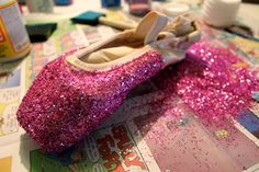 Sparkly pointe shoes- doing