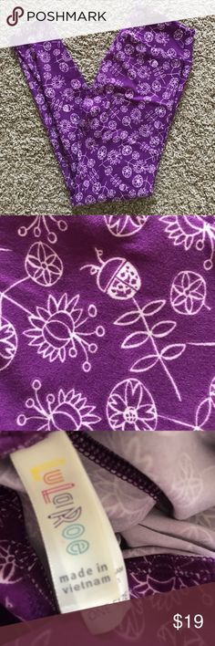 LulaRoe OS Purple Ladybug Leggings 🐞 Adorable purple and cream ladybug leggings with flowers! Priced to sell! Cleaning out some of my LULA stash! LuLaRoe Other