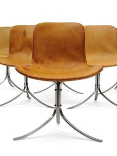 Poul Kjærholm, PK9 chairs, originally designed in 1960 and manufactured by E. Kold Christensen, Denmark.