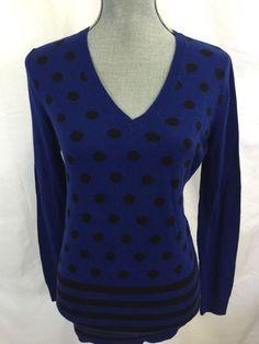 Don't you love this style? Ann Taylor LOFT Blue Polka Dot Sweater Medium M Black Cotton Blend V-Neck Womens #AnnTaylorLOFT #VNeck