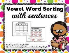 Word Sorts for Long Vowel Words in Sentences Packet for Distance Learning Reading Tutoring, Phonics Reading, Long Vowels, Word Sorts, Vowel Sounds, Reading Resources, Student Learning, Sorting, Spelling