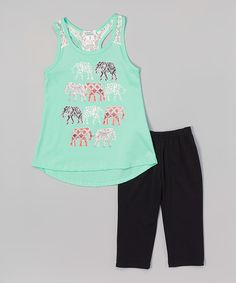 Look at this Mint Elephant Top & Leggings - Toddler & Girls on #zulily today!