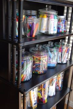DIY Organizing Ideas for Kids Rooms - Jar Storage For Art Materials - Easy Storage Projects for Boy and Girl Room - Step by Step Tutorials to Get Toys, Books, Baby Gear, Games and Clothes Organized - Quick and Cheap Shelving, Tables, Toy Boxes, Closet Tips, Bookcases and Dressers - DIY Projects and Crafts http://diyjoy.com/diy-organizing-ideas-kids-rooms #artsandcrafts,