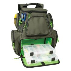 Multi-Tackle Large Backpack With 2-#3600 Style Trays - Lower tray compartment for storage of up to four #3600 style trays - Large upper storage area with removable divider, converts backpack for stora