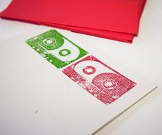 Holiday Mix Tape Stationery Set, christmas cassette tapes hemp stationary, music letter writing paper. $8.00, via Etsy.