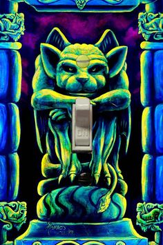 Psychedelic Gothic Gargoyle Light Switch Cover Plate Art by Vincent Monaco - Trippy Unique Room Deco Blacklight Tapestry, Gothic Gargoyles, Cool Glow, Psy Art, D House, Plate Art, Hippie Art, Light Switch Covers, Psychedelic Art