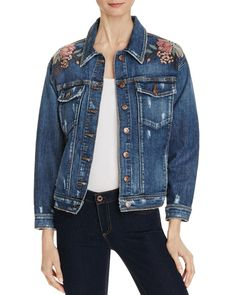 Joe's Jeans Bella Floral Embroidered Denim Jacket