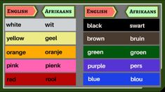 Learn 10 colours in English and AfrikaansLearn how to spell the different words. Different Words, Blue Butterfly, Afrikaans, Teacher Newsletter, Teacher Pay Teachers, Spelling, Worksheets, English, Colours