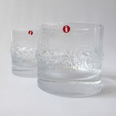 Niva by Tapio Wirkkala, Iittala, pair of tumblers. Two vintage glasses. Whiskey/gin G&T 70s Glasses, Linear Pattern, Schnapps, Vintage 70s, Tumblers, Finland, Gin, Shot Glass, Whiskey