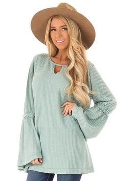9d3562e0456dd Faded Aqua Waffle Knit Top with Long Trumpet Sleeves front close up Waffle  Knit